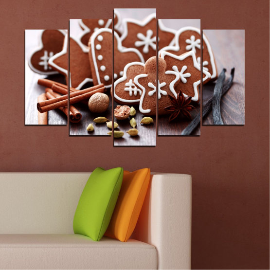 Canvas prints & wall decorative panels - 5 pieces №0426 » Brown, Gray, White » Pastry, Christmas, Holiday Form #1