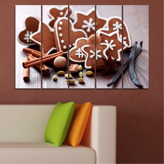 Canvas prints & wall decorative panels - 5 pieces №0426 » Brown, Gray, White » Pastry, Christmas, Holiday Form #2
