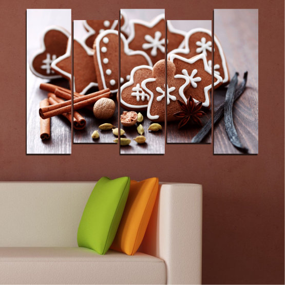 Canvas prints & wall decorative panels - 5 pieces №0426 » Brown, Gray, White » Pastry, Christmas, Holiday Form #3