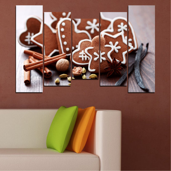 Canvas prints & wall decorative panels - 5 pieces №0426 » Brown, Gray, White » Pastry, Christmas, Holiday Form #4