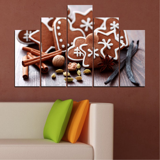 Canvas prints & wall decorative panels - 5 pieces №0426 » Brown, Gray, White » Pastry, Christmas, Holiday Form #5