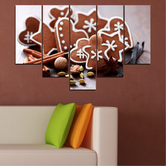 Canvas prints & wall decorative panels - 5 pieces №0426 » Brown, Gray, White » Pastry, Christmas, Holiday Form #6