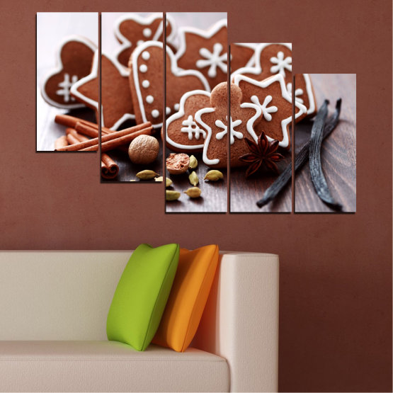 Canvas prints & wall decorative panels - 5 pieces №0426 » Brown, Gray, White » Pastry, Christmas, Holiday Form #7