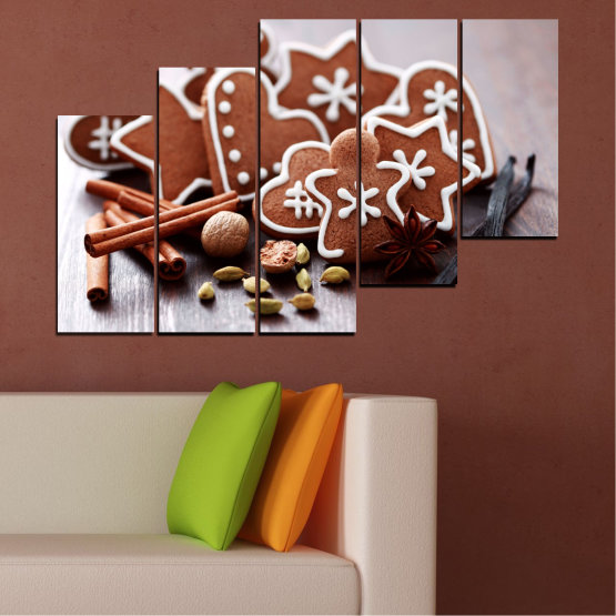 Canvas prints & wall decorative panels - 5 pieces №0426 » Brown, Gray, White » Pastry, Christmas, Holiday Form #8