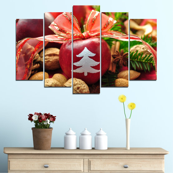Canvas prints & wall decorative panels - 5 pieces №0427 » Red, Orange, Brown, Black » Decoration, Christmas, Holiday Form #1