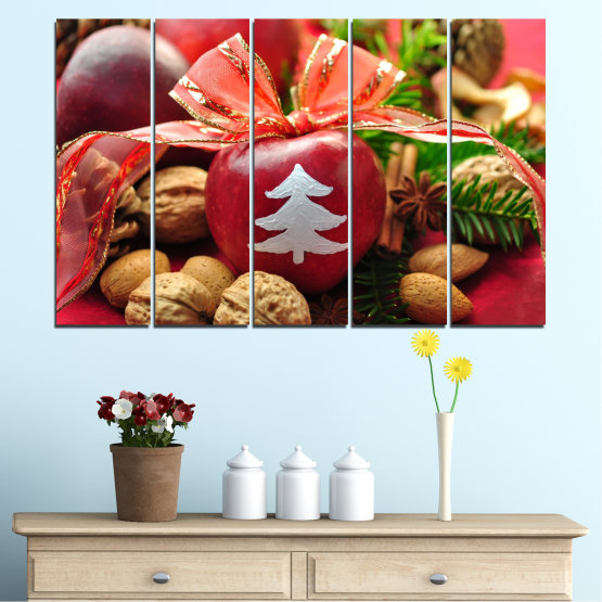 Canvas prints & wall decorative panels - 5 pieces №0427 » Red, Orange, Brown, Black » Decoration, Christmas, Holiday Form #2