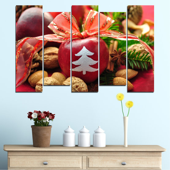 Canvas prints & wall decorative panels - 5 pieces №0427 » Red, Orange, Brown, Black » Decoration, Christmas, Holiday Form #3