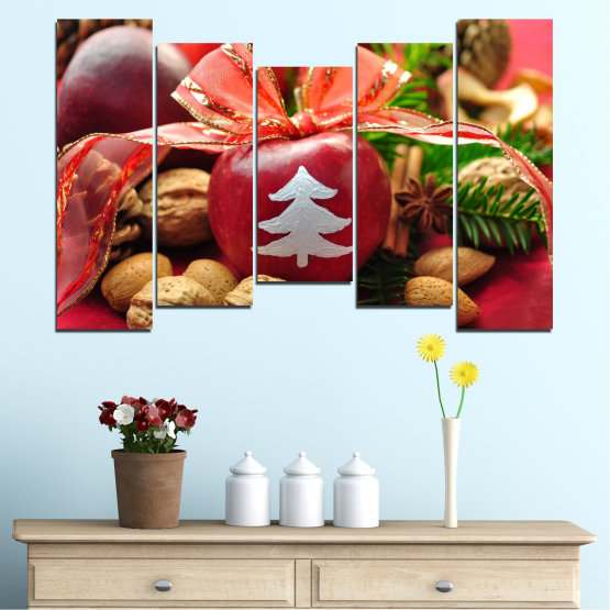 Canvas prints & wall decorative panels - 5 pieces №0427 » Red, Orange, Brown, Black » Decoration, Christmas, Holiday Form #4