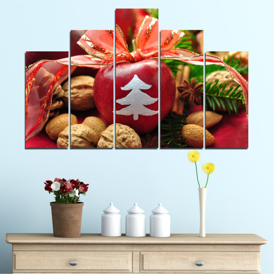 Canvas prints & wall decorative panels - 5 pieces №0427 » Red, Orange, Brown, Black » Decoration, Christmas, Holiday Form #5