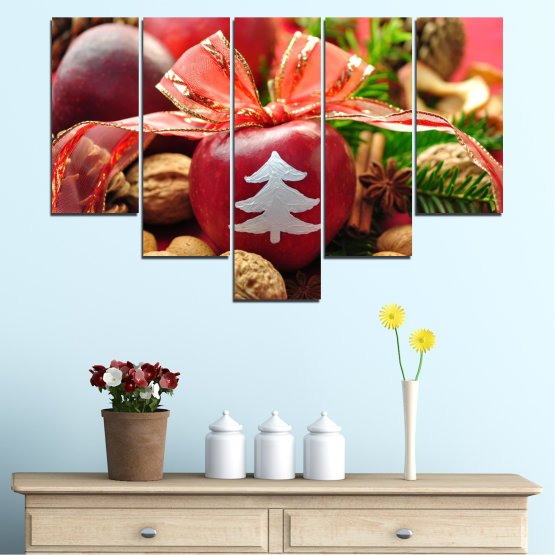 Canvas prints & wall decorative panels - 5 pieces №0427 » Red, Orange, Brown, Black » Decoration, Christmas, Holiday Form #6