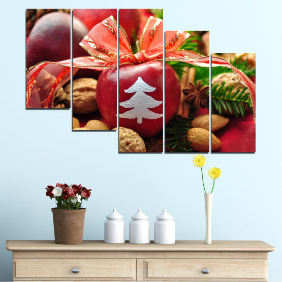 Canvas prints & wall decorative panels - 5 pieces №0427 » Red, Orange, Brown, Black » Decoration, Christmas, Holiday Form #7