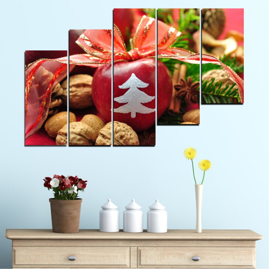 Canvas prints & wall decorative panels - 5 pieces №0427 » Red, Orange, Brown, Black » Decoration, Christmas, Holiday Form #8