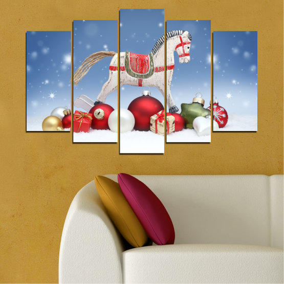 Canvas prints & wall decorative panels - 5 pieces №0428 » Blue, Gray, White » Decoration, Christmas, Holiday Form #1