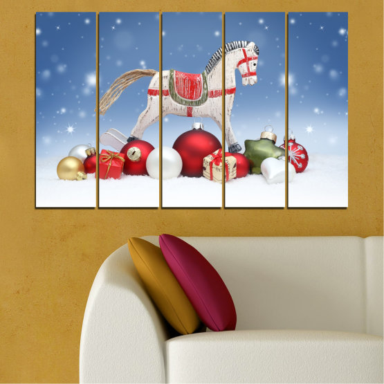 Canvas prints & wall decorative panels - 5 pieces №0428 » Blue, Gray, White » Decoration, Christmas, Holiday Form #2