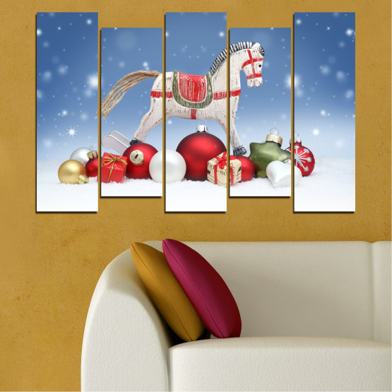 Canvas prints & wall decorative panels - 5 pieces №0428 » Blue, Gray, White » Decoration, Christmas, Holiday Form #3