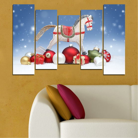 Canvas prints & wall decorative panels - 5 pieces №0428 » Blue, Gray, White » Decoration, Christmas, Holiday Form #4