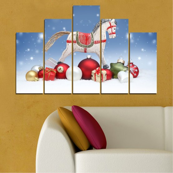 Canvas prints & wall decorative panels - 5 pieces №0428 » Blue, Gray, White » Decoration, Christmas, Holiday Form #5