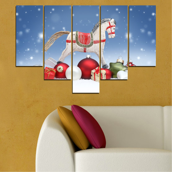 Canvas prints & wall decorative panels - 5 pieces №0428 » Blue, Gray, White » Decoration, Christmas, Holiday Form #6