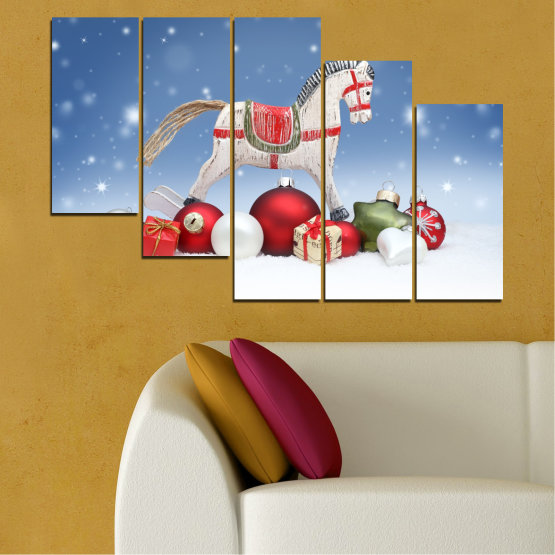 Canvas prints & wall decorative panels - 5 pieces №0428 » Blue, Gray, White » Decoration, Christmas, Holiday Form #7