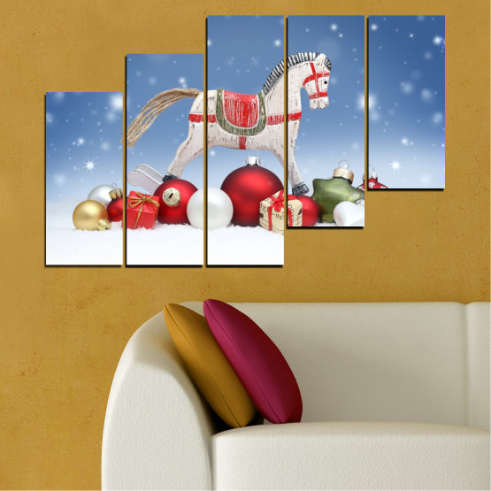 Canvas prints & wall decorative panels - 5 pieces №0428 » Blue, Gray, White » Decoration, Christmas, Holiday Form #8