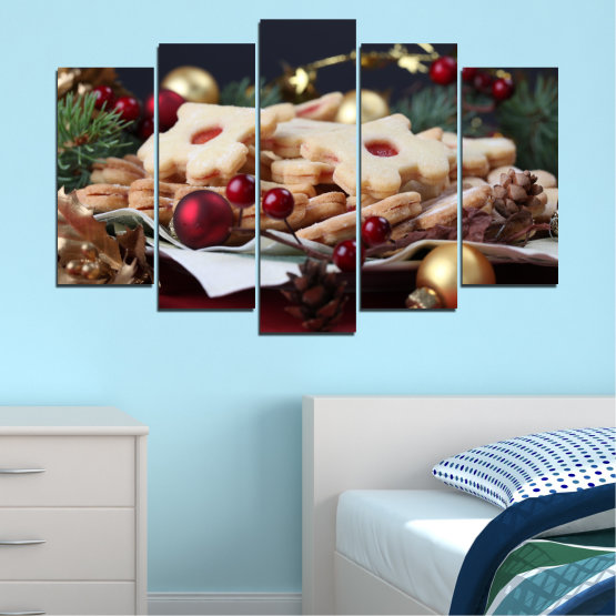 Canvas prints & wall decorative panels - 5 pieces №0429 » Brown, Black, Beige, Dark grey » Decoration, Pastry, Christmas, Holiday Form #1