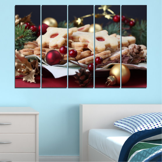 Canvas prints & wall decorative panels - 5 pieces №0429 » Brown, Black, Beige, Dark grey » Decoration, Pastry, Christmas, Holiday Form #2