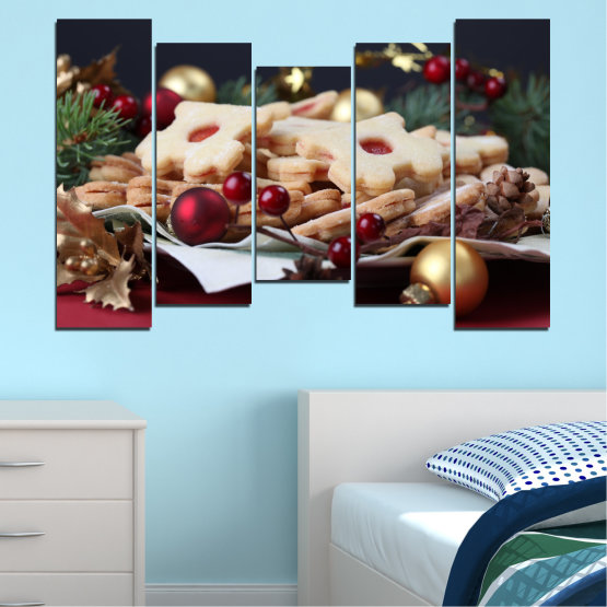 Canvas prints & wall decorative panels - 5 pieces №0429 » Brown, Black, Beige, Dark grey » Decoration, Pastry, Christmas, Holiday Form #4