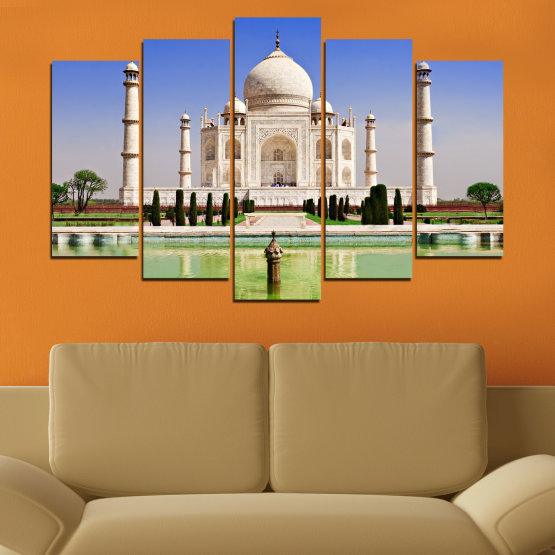 Canvas prints & wall decorative panels - 5 pieces №0043 » Blue, Turquoise, Green, Gray » Landmark, Taj mahal, India, Аsia Form #1