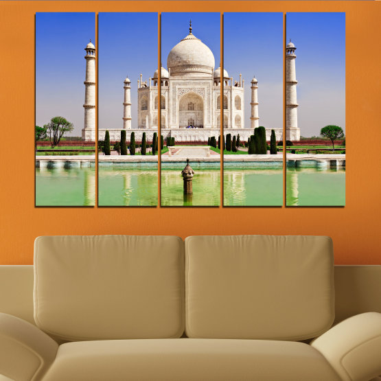Canvas prints & wall decorative panels - 5 pieces №0043 » Blue, Turquoise, Green, Gray » Landmark, Taj mahal, India, Аsia Form #2