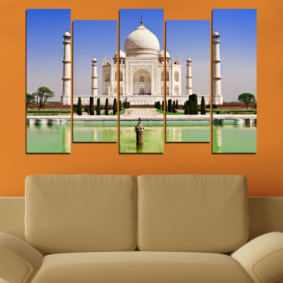 Canvas prints & wall decorative panels - 5 pieces №0043 » Blue, Turquoise, Green, Gray » Landmark, Taj mahal, India, Аsia Form #3