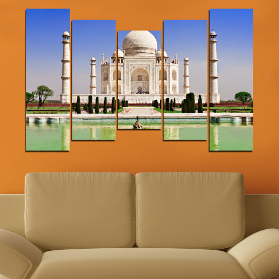 Canvas prints & wall decorative panels - 5 pieces №0043 » Blue, Turquoise, Green, Gray » Landmark, Taj mahal, India, Аsia Form #4