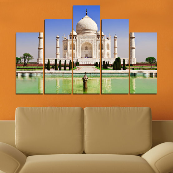 Canvas prints & wall decorative panels - 5 pieces №0043 » Blue, Turquoise, Green, Gray » Landmark, Taj mahal, India, Аsia Form #5
