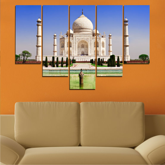 Canvas prints & wall decorative panels - 5 pieces №0043 » Blue, Turquoise, Green, Gray » Landmark, Taj mahal, India, Аsia Form #6