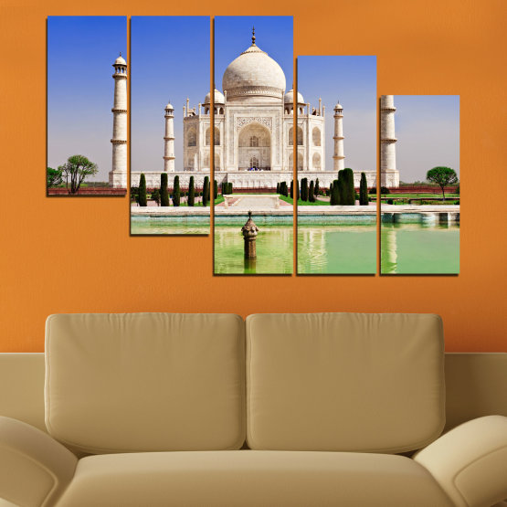 Canvas prints & wall decorative panels - 5 pieces №0043 » Blue, Turquoise, Green, Gray » Landmark, Taj mahal, India, Аsia Form #7