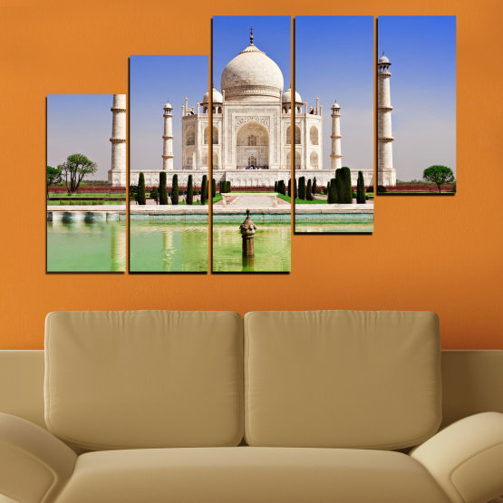Canvas prints & wall decorative panels - 5 pieces №0043 » Blue, Turquoise, Green, Gray » Landmark, Taj mahal, India, Аsia Form #8