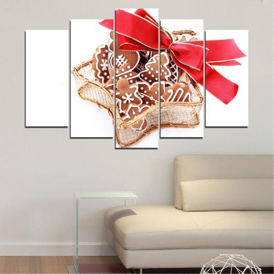 Декоративни панели и картини от канава - от 5 части №0431 » Червен, Оранжев, Кафяв, Бял, Бежов » Украса, Коледа, Празник Form #1