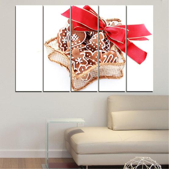 Декоративни панели и картини от канава - от 5 части №0431 » Червен, Оранжев, Кафяв, Бял, Бежов » Украса, Коледа, Празник Form #2