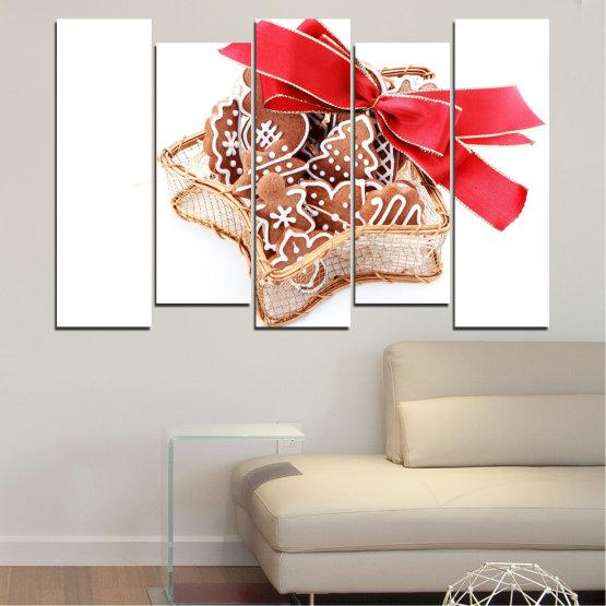 Декоративни панели и картини от канава - от 5 части №0431 » Червен, Оранжев, Кафяв, Бял, Бежов » Украса, Коледа, Празник Form #3