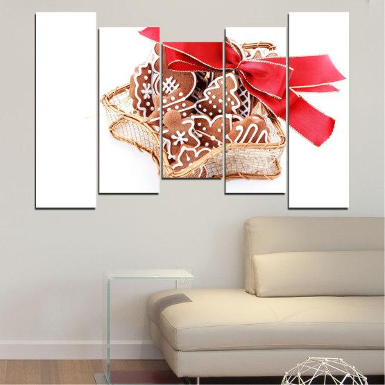 Декоративни панели и картини от канава - от 5 части №0431 » Червен, Оранжев, Кафяв, Бял, Бежов » Украса, Коледа, Празник Form #4