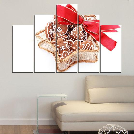 Декоративни панели и картини от канава - от 5 части №0431 » Червен, Оранжев, Кафяв, Бял, Бежов » Украса, Коледа, Празник Form #5