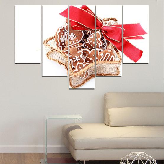 Декоративни панели и картини от канава - от 5 части №0431 » Червен, Оранжев, Кафяв, Бял, Бежов » Украса, Коледа, Празник Form #6