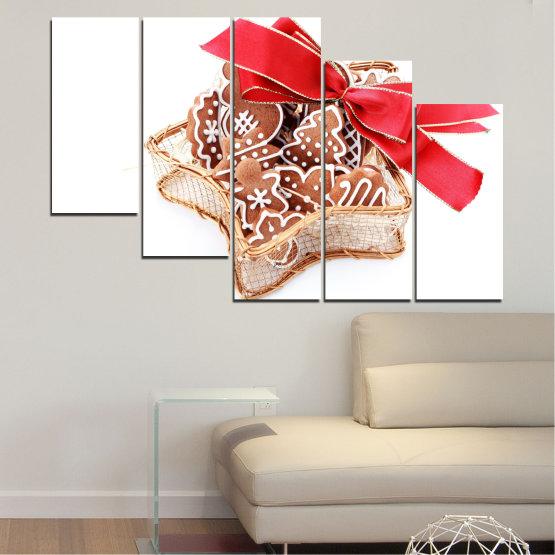 Декоративни панели и картини от канава - от 5 части №0431 » Червен, Оранжев, Кафяв, Бял, Бежов » Украса, Коледа, Празник Form #7
