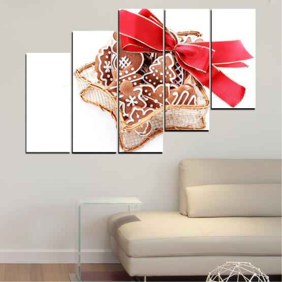 Декоративни панели и картини от канава - от 5 части №0431 » Червен, Оранжев, Кафяв, Бял, Бежов » Украса, Коледа, Празник Form #8