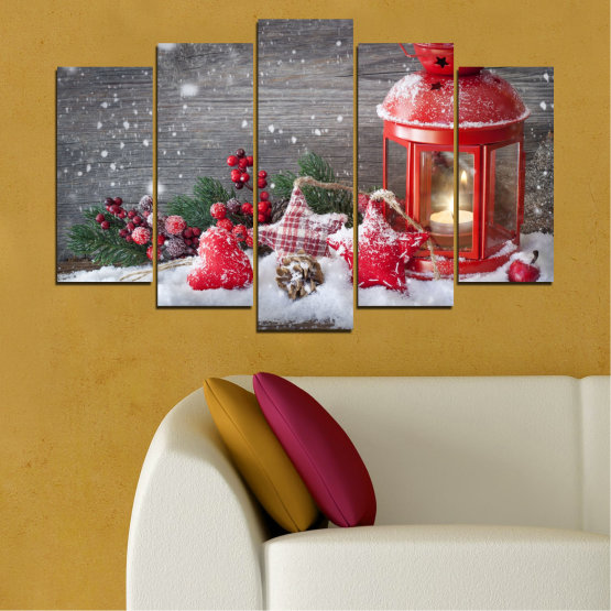 Canvas prints & wall decorative panels - 5 pieces №0432 » Red, Brown, Gray, Dark grey » Decoration, Christmas, Holiday Form #1