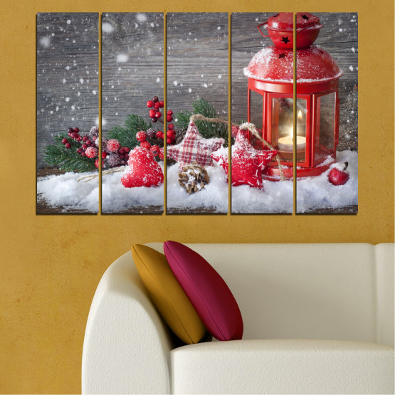 Canvas prints & wall decorative panels - 5 pieces №0432 » Red, Brown, Gray, Dark grey » Decoration, Christmas, Holiday Form #2