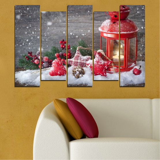 Canvas prints & wall decorative panels - 5 pieces №0432 » Red, Brown, Gray, Dark grey » Decoration, Christmas, Holiday Form #3