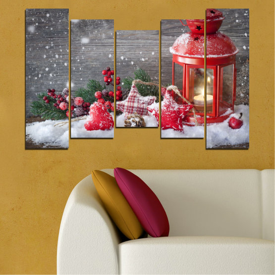Canvas prints & wall decorative panels - 5 pieces №0432 » Red, Brown, Gray, Dark grey » Decoration, Christmas, Holiday Form #4