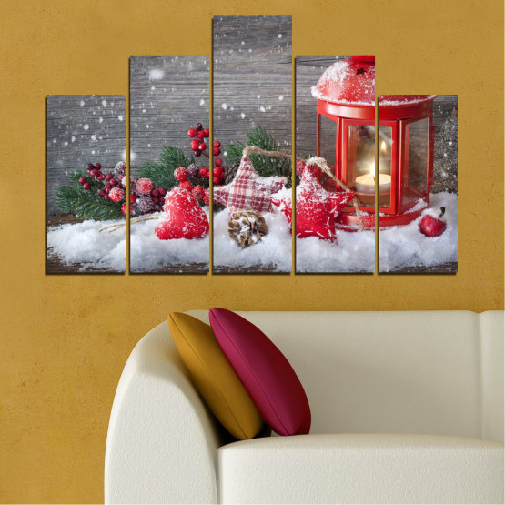 Canvas prints & wall decorative panels - 5 pieces №0432 » Red, Brown, Gray, Dark grey » Decoration, Christmas, Holiday Form #5