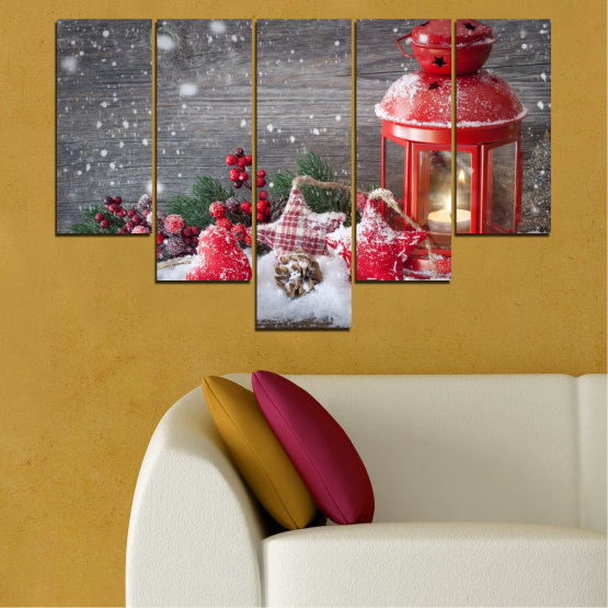 Canvas prints & wall decorative panels - 5 pieces №0432 » Red, Brown, Gray, Dark grey » Decoration, Christmas, Holiday Form #6