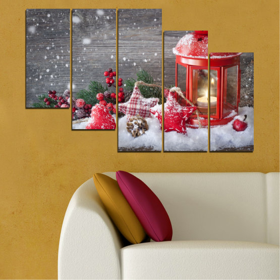 Canvas prints & wall decorative panels - 5 pieces №0432 » Red, Brown, Gray, Dark grey » Decoration, Christmas, Holiday Form #7